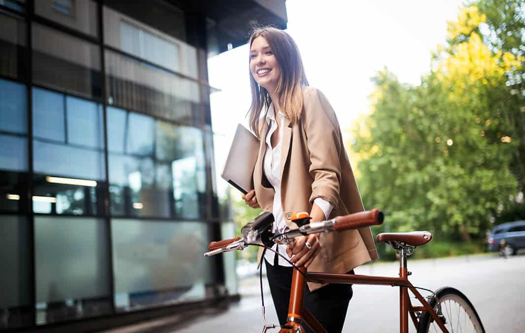 business woman with bicycle