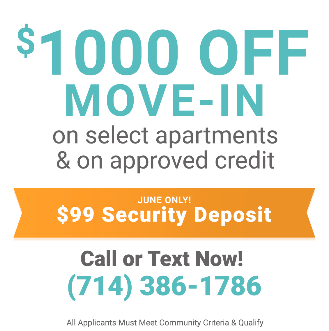 $1000 off move-in on select apartments & on approved credit